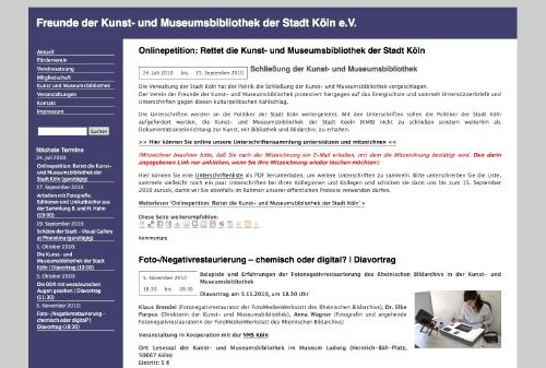 Mehr Informationen zur Internetseite Freunde der Kunst- und Museumsbibliothek der Stadt Köln e.V.