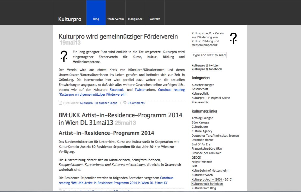 Bildschirmfoto Kulturpro.de